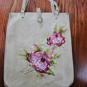 VINTAGE 1950s Hand Painted Pink Roses on Leather HUGE BoHo Satchel Bag Purse