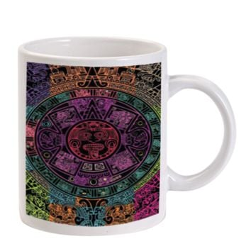 Gift Mugs | Aztec Calendar Black Ceramic Coffee Mugs
