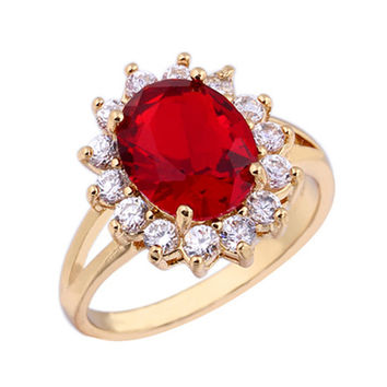18K Gold Platinum Plated Red  Rhinestone Ring   gold plated red zircon 7.75#