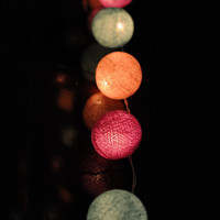 35 cotton ball light 13 feet  pastel classic baby cute color handmade cotton ball wedding light bedroom light lamp lantern decoration deco