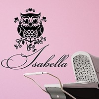 Wall Decal Girl Name Owl Sticker Personalized Name Nursery Baby Kids Custom Name Vinyl Sticker Decals Bedroom Decor C611