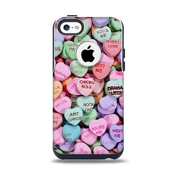 The Candy Worded Hearts Apple iPhone 5c Otterbox Commuter Case Skin Set