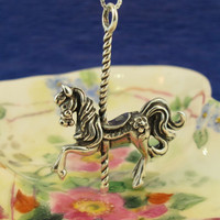 Silver Carousel Horse Charm Pendant by martymagic on Etsy