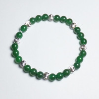 Dark Green Aventurine and Sterling Silver Beadwork Stretch Bracelet