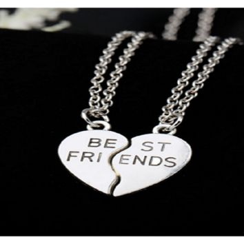 Heart Pendant Pieces Broken Two Best Friend Friendship Necklace