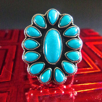 Turquoise Sleeping Beauty Sterling Ring, Petit Point, Size 10 Vintage