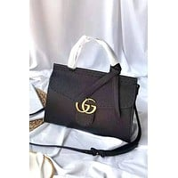 GUCCI 2019 new women's versatile leather handbag black