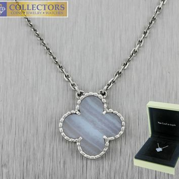 Van Cleef Arpels Vintage Alhambra Chalcedony 18K White Gold Necklace VCARD34900