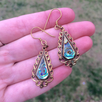 vintage brass abalone earrings