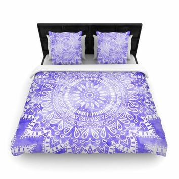 "KESS InHouse Nika Martinez ""Boho Flower Mandala in Purple"" Lavender Queen Woven Duvet Cover, 88 by 88-Inch, 88"" X 88"""""
