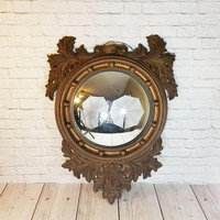 Vintage Large Ornate Bull Eye Convex Wall Mirror