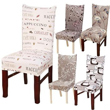 Hyha Floral Letter Dining Chair Cover Spandex Elastic Anti-dirty Slipcovers Protector Stretch Removable Hotel Kitchen Seat Case