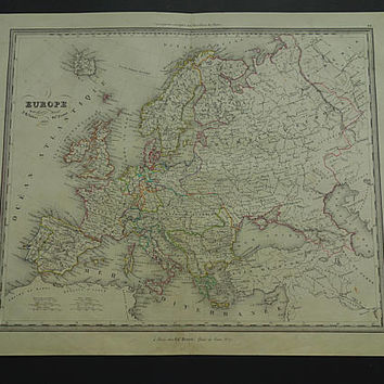 """EUROPE old map of Europe 1840 original antique hand-colored large print of the European continent vintage history maps 14x17"""" poster 1837"""