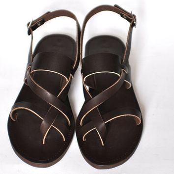 Leather Sandals / Greek Handmade classic cross straps women sandals
