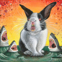 Mr. Whiskers- Killer Bunny Rabbit vs Sharks -Acrylic Painting Art Print  -Animal Art- Surreal Fantasy Space Oddity Monster Creature