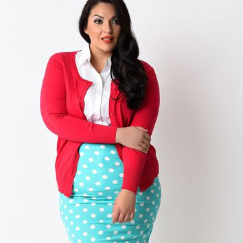 Plus Size 1950s Style Hot Pink Button Down Long Sleeve Cardigan