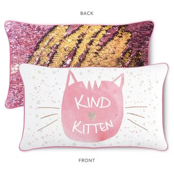 KIND Kitten Pillow w/ Reversible Pink and Gold Sequins