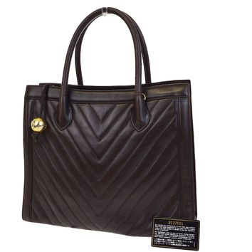 Authentic CHANEL CC V Stitch Hand Tote Bag Leather Brown Italy Vintage 79B754