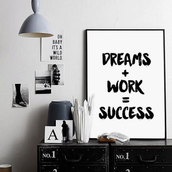 Dreams Work Success Quote Print, Watercolor Workspace Office Decor Wall Art Printable Art Life Quote Inspirational Motivational Poster