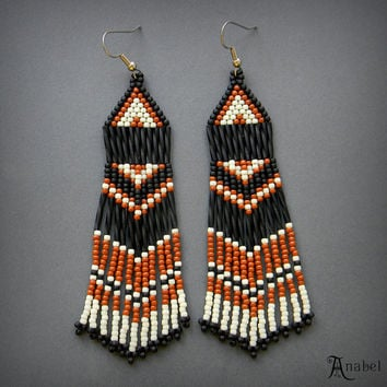 Black, Brown and Cream Beaded Earrings, Seed Bead Earrings, Boho, Beadwork, Dangle, Fringe