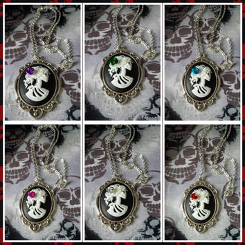 Skull cameo pendant necklace-30mm x 40mm  Goth Emo Skeleton Day of Dead Costume Jewelry Steam punk
