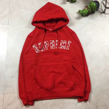 LV X SUPREME Fashion Hooded Sport Top Sweater Sweatshirt Hoodie