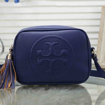 Tory Burch Fashion Women Tassel Leather Shoulder Bag Crossbody Satchel Blue