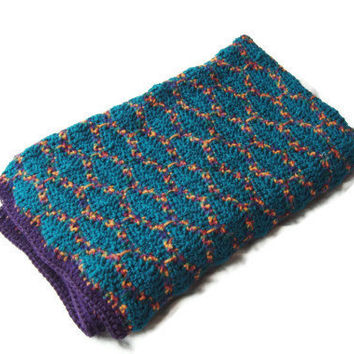"Hand Crochet Lapghan Afghan Throw Blanket Teal, Purple Multi 41"" x 49"""