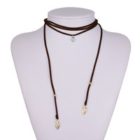 Gift New Arrival Jewelry Shiny Stylish Simple Design Adjustable Turquoise Pendant Sweater Accessory Necklace [8581969671]