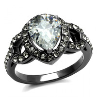 Gunmetal Stainless Steel Pear CZ Engagement Ring