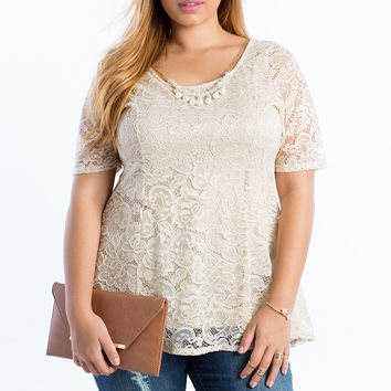 Slit Back Lace Blouse With Necklace