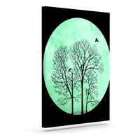 "Micah Sager ""Perch"" Teal Circle Outdoor Canvas Wall Art"