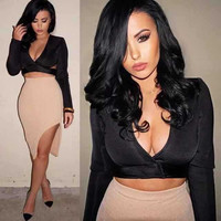 Women's Fashion Deep V Long Sleeve Tops Bandages Dress Bottom & Top [4919881028]