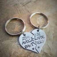 "Best Friend/Couples Hand Stamped Keychain Set - ""Zombie Apocalypse Partners"" - The Walking Dead"