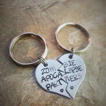 """Best Friend/Couples Hand Stamped Keychain Set - """"Zombie Apocalypse Partners"""" - The Walking Dead"""