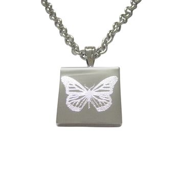 Silver Toned Etched Simple Butterfly Bug Pendant Necklace