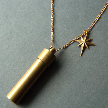 Brass North Star & Capsule Necklace