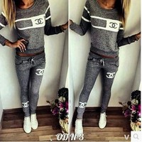 Casual Women's Fashion Print Long Sleeve Bottom & Top Sports Sportswear Set [10885113863]