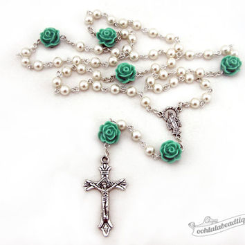 Rose rosary necklace, white pearl rosary, holy communion rosary, baptism rosaries, girls rosary, ladies rosaries, confirmation rosary gift