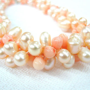 Angel Skin Coral Necklace, Pink Corals,  Peach baroque pearls, multistrand  / cluster necklace, bridal  jewelry, teardrop pearls / corals