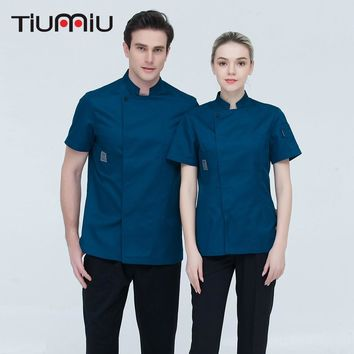 Short-sleeve Chef Uniforms Restaurant Hotel Chef Jacket Kitchen Cook Shirt Unisex Kitchen Work Clothes Waiter Overalls