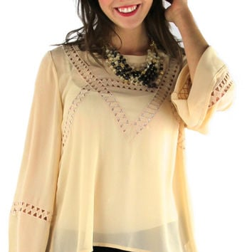 Embroidered Cut Outs Blouse - Cream