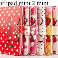 Hot  3D Cartoon bow-knot Mickey Minnie Flip Stand Leather Card Holder Smart Case for Apple iPad Mini1 / 2 /3 mini 4 Tablet cover