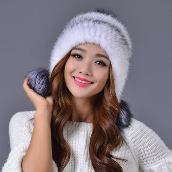 Dreamtach Brand New winter mink fur hat women cap fox fur ball cute protect ear cap thickness Beanies Headgear