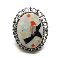 Zuni Inlaid Hummingbird Ring Sterling Size 6