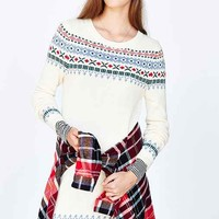 RYDER Fair Isle Sweater Dress- Cream
