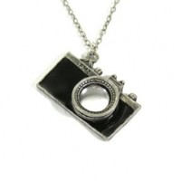 Camera Photographer Statement Necklace Charm Pendant NB11 Black Vintage Retro Indie Fashion Jewelry