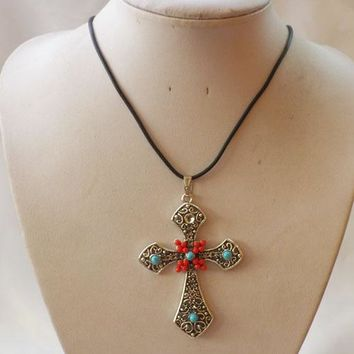 Silver & Turquoises Cross Boho/ Western Necklace