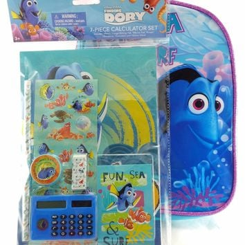 "Disney Pixar Finding Dory 10"" Canvas Blue & Pink Backpack w/7-pc Calculator Set"
