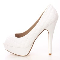 White Quilted Peep Toe Pump Heels Faux Leather